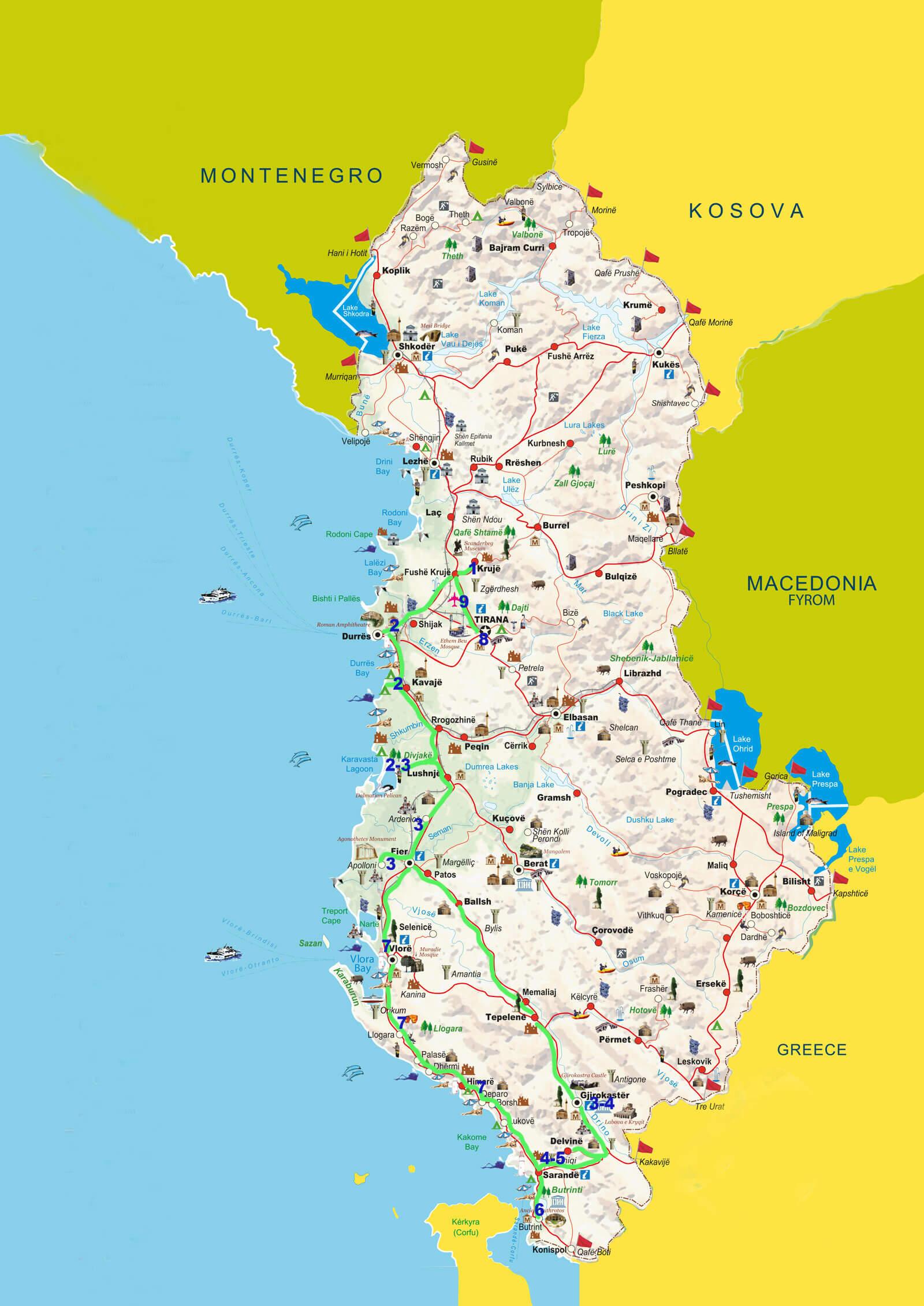 kaart reis parels van de westkust Albanie
