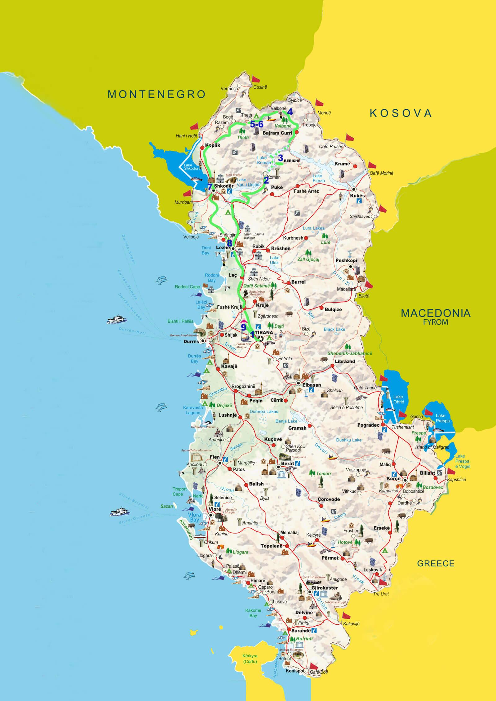 9-Dagen-Noord-ALBANIA-kaart-1600